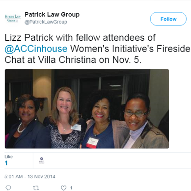 Lizz Patrick Attending the ACCinHouse Women's Initiative's Fireside Chat